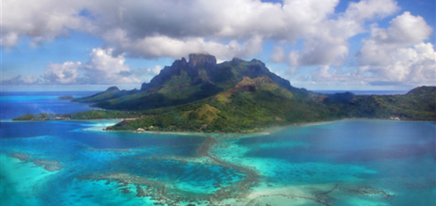 View from the airplane window on Bora Bora